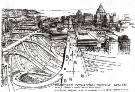 An image of a 1960s rendering of Vancouver's proposed downtown freeway system