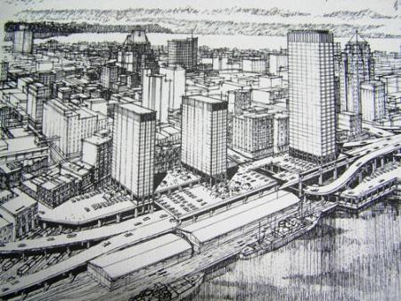 Pencil Rendering of Vancouver's unrealized Project 200