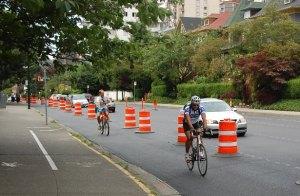 Pacific bike lane going east