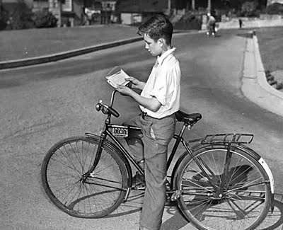 Bikes 1940s s A boy examines his new