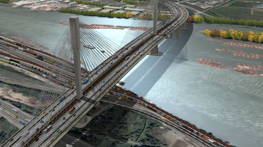 A view of the 10-lane Port Mann Bridge