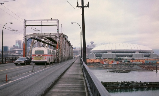 Old Cambie St. swing bridge, 1983. Photo by S. J. Morgan.