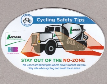 "The logo says: ""I care about cycling safety""."