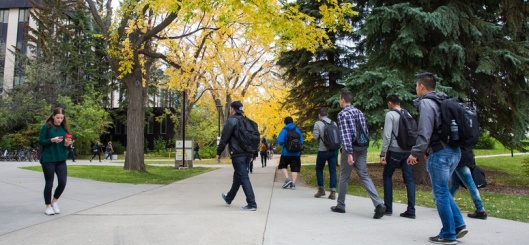 Students walking around campus in the fall of 2015.