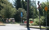Crossing 49th Ave from Arbutus the new way.